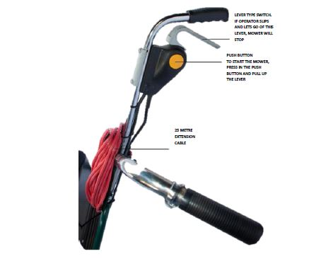 SI Domestic Electric Cylinder mower switch and safety lever